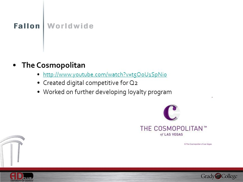 The Cosmopolitan Created digital competitive for Q2