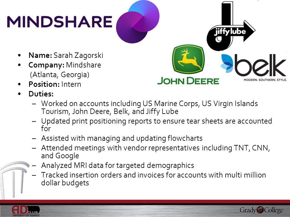 Name: Sarah Zagorski Company: Mindshare. (Atlanta, Georgia) Position: Intern. Duties:
