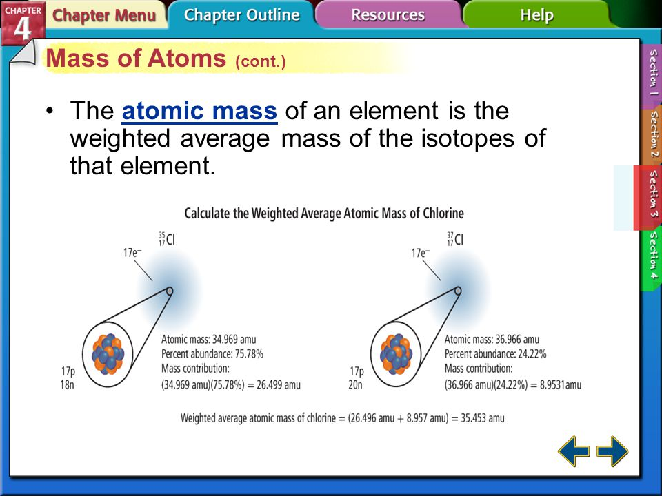 Mass of Atoms (cont.) The atomic mass of an element is the weighted average mass of the isotopes of that element.