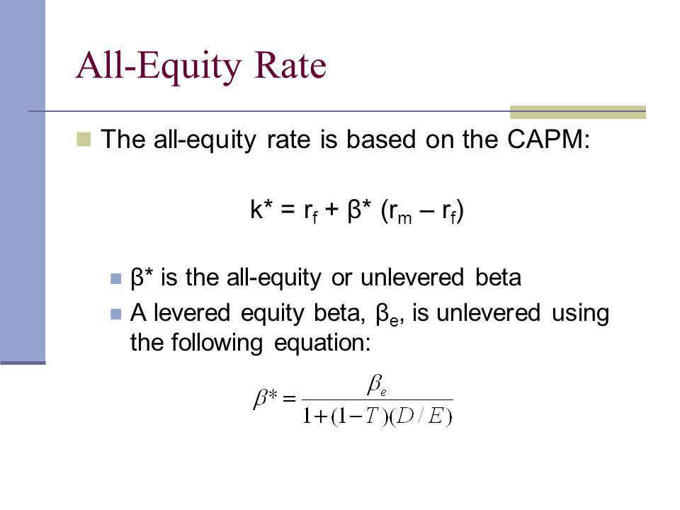 All-Equity Rate The all-equity rate is based on the CAPM: