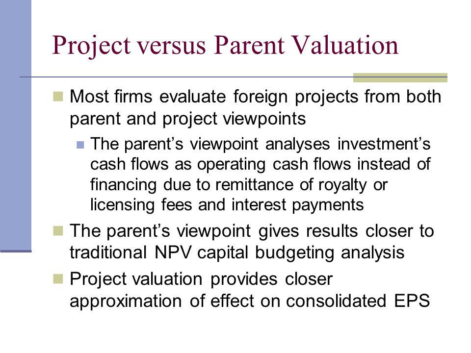 Project versus Parent Valuation