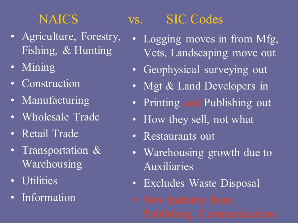 NAICS vs. SIC Codes Agriculture, Forestry, Fishing, & Hunting