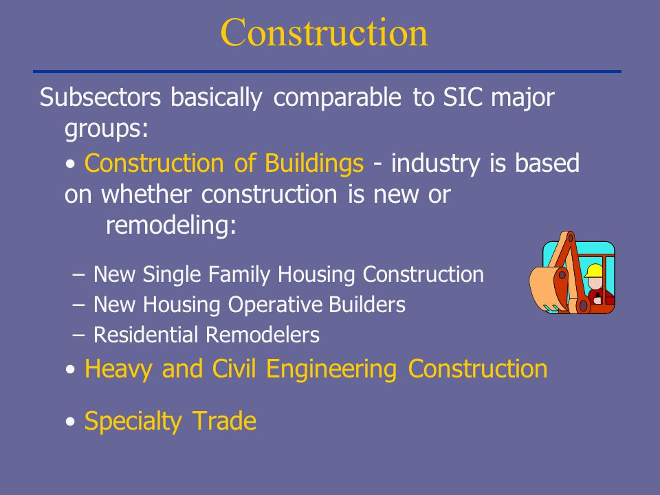 Construction Subsectors basically comparable to SIC major groups: