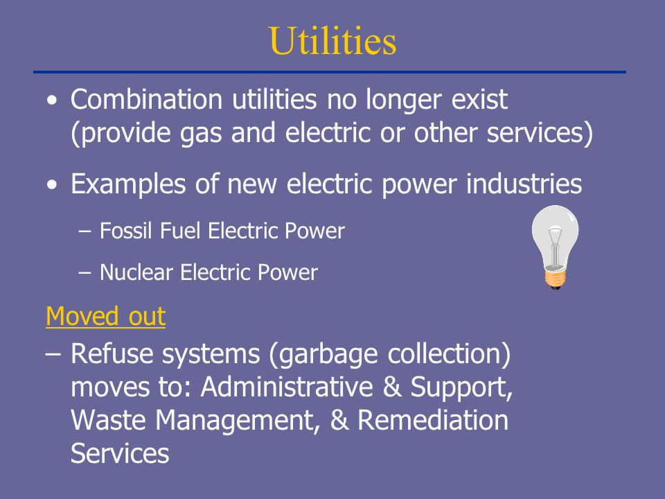 Utilities Combination utilities no longer exist (provide gas and electric or other services) Examples of new electric power industries.