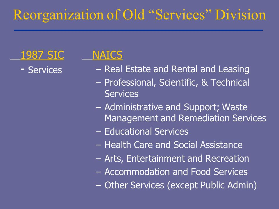 Reorganization of Old Services Division