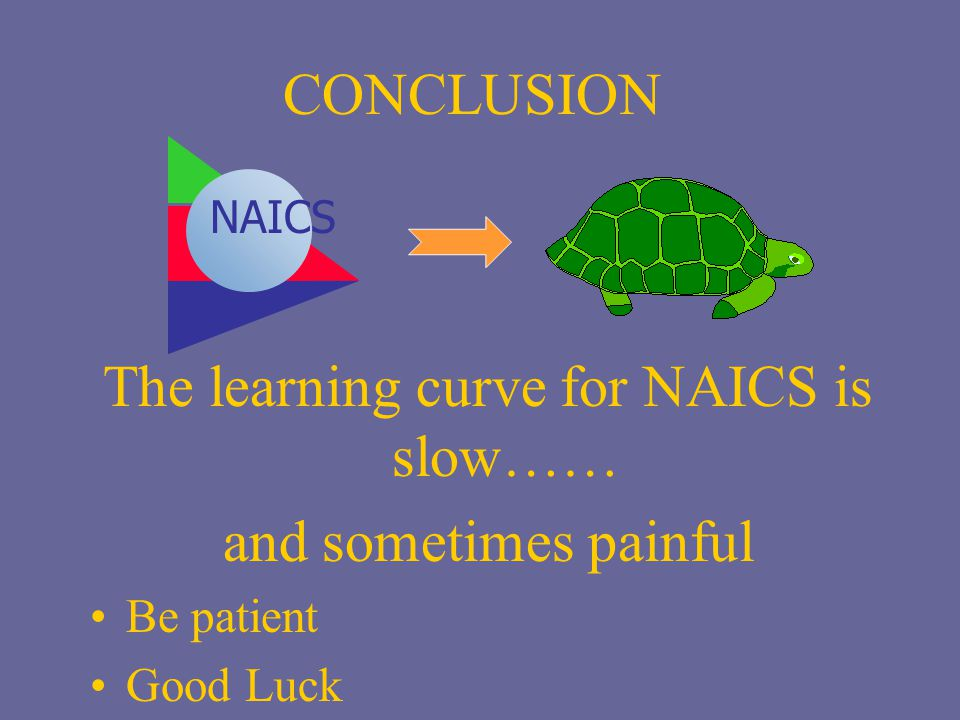 The learning curve for NAICS is slow……