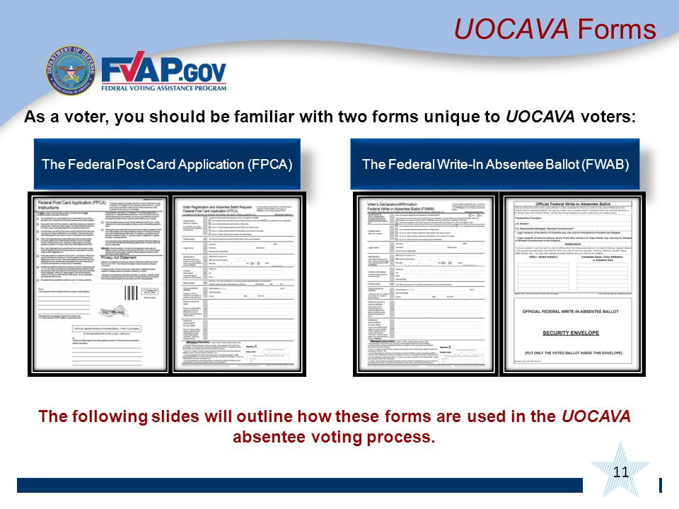 UOCAVA Forms As a voter, you should be familiar with two forms unique to UOCAVA voters: The Federal Post Card Application (FPCA)
