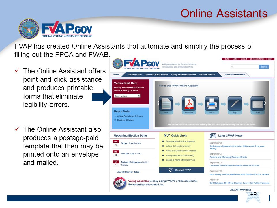 Online Assistants FVAP has created Online Assistants that automate and simplify the process of filling out the FPCA and FWAB.