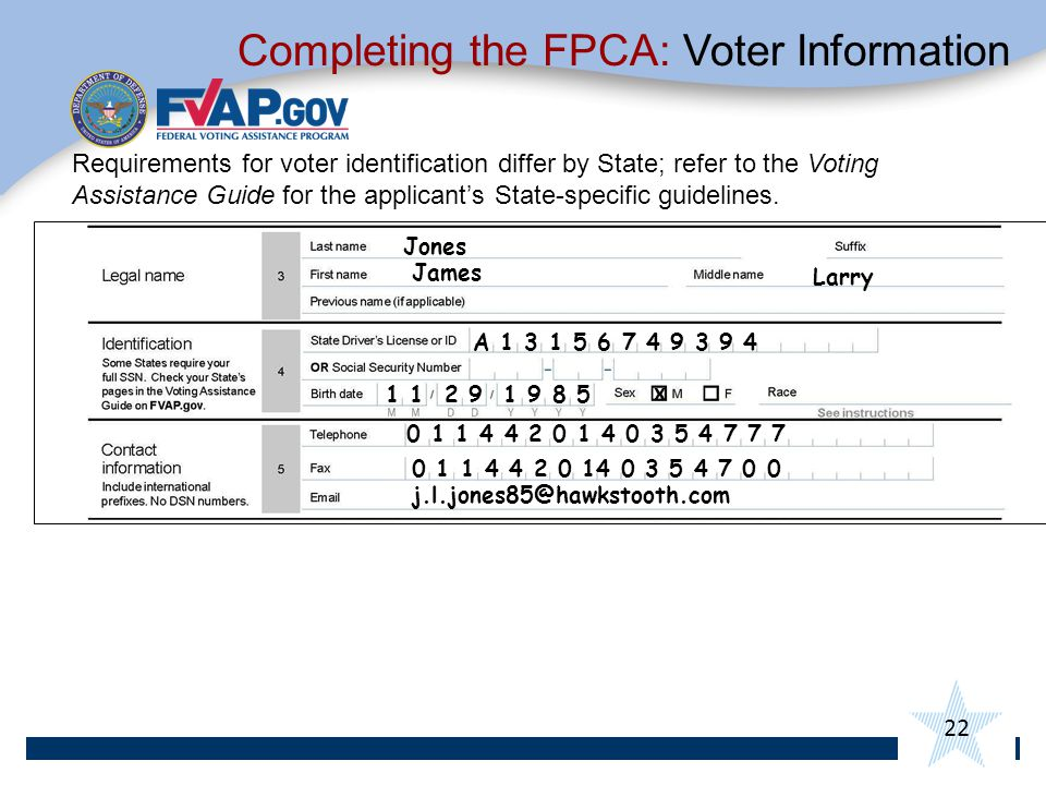Completing the FPCA: Voter Information