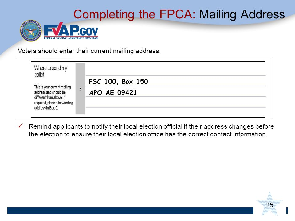 Completing the FPCA: Mailing Address