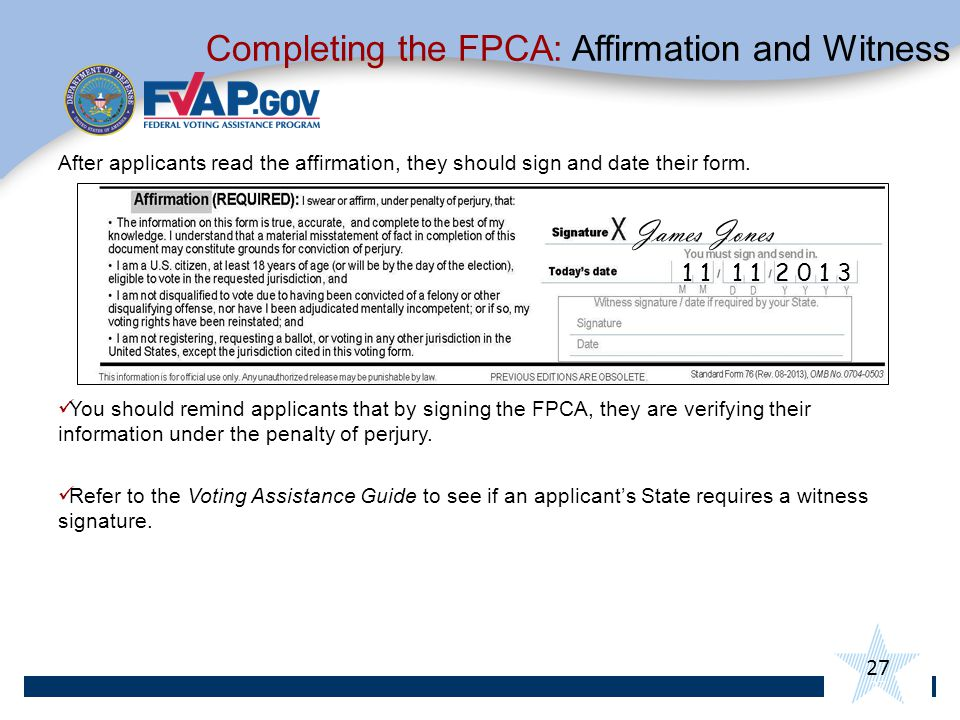 Completing the FPCA: Affirmation and Witness