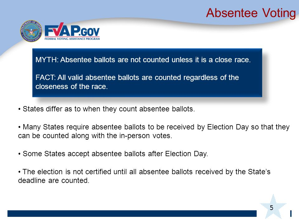 Absentee Voting States differ as to when they count absentee ballots.