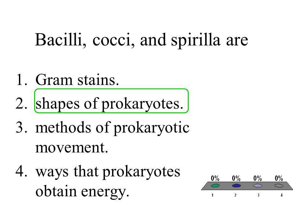 Bacilli, cocci, and spirilla are