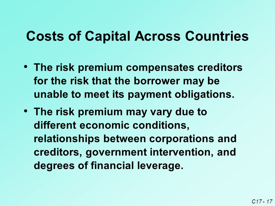 Costs of Capital Across Countries