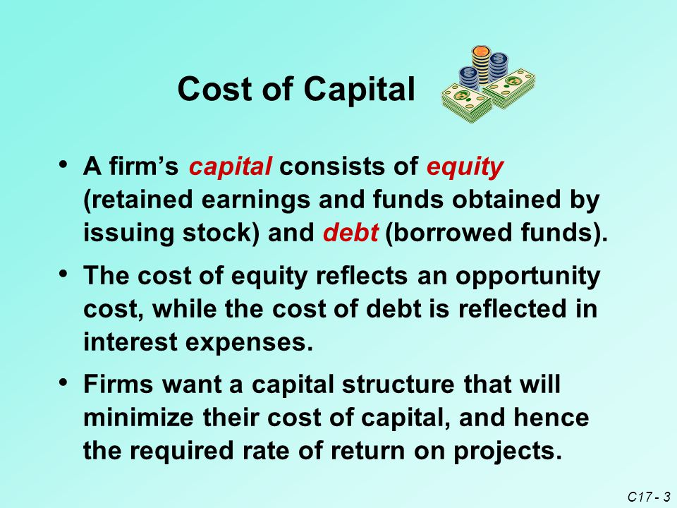 Cost of Capital A firm's capital consists of equity (retained earnings and funds obtained by issuing stock) and debt (borrowed funds).