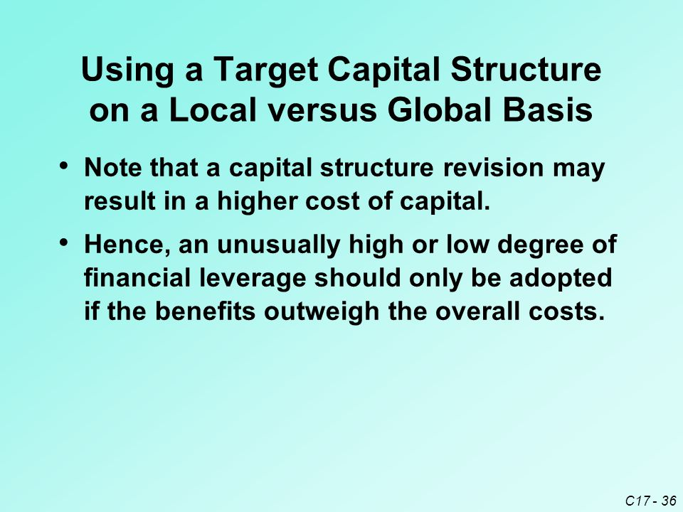 Using a Target Capital Structure on a Local versus Global Basis