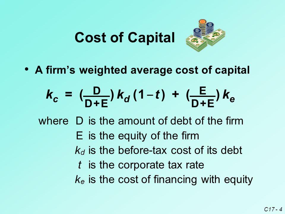 kc = ( D ) kd ( 1 _ t ) + ( E ) ke Cost of Capital