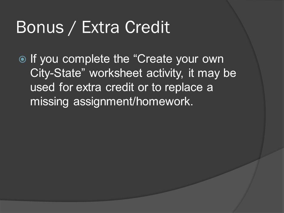 Bonus / Extra Credit