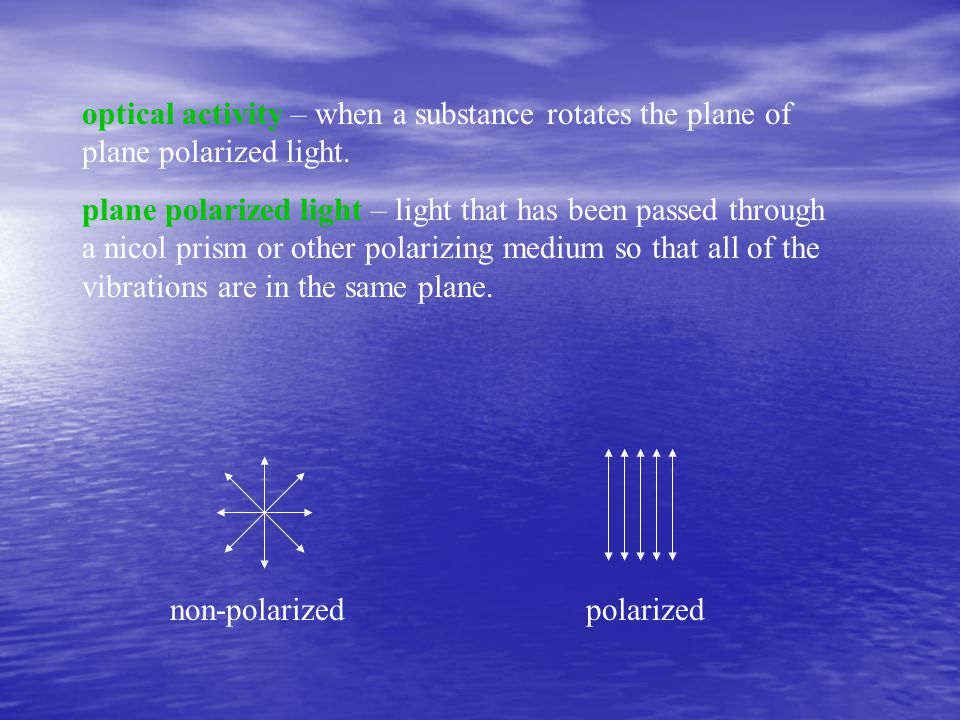 optical activity – when a substance rotates the plane of plane polarized light.