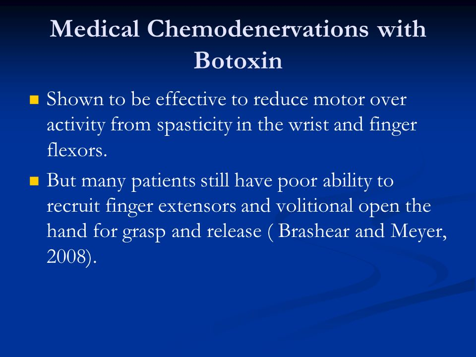 Medical Chemodenervations with Botoxin