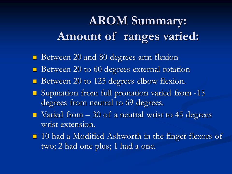 AROM Summary: Amount of ranges varied:
