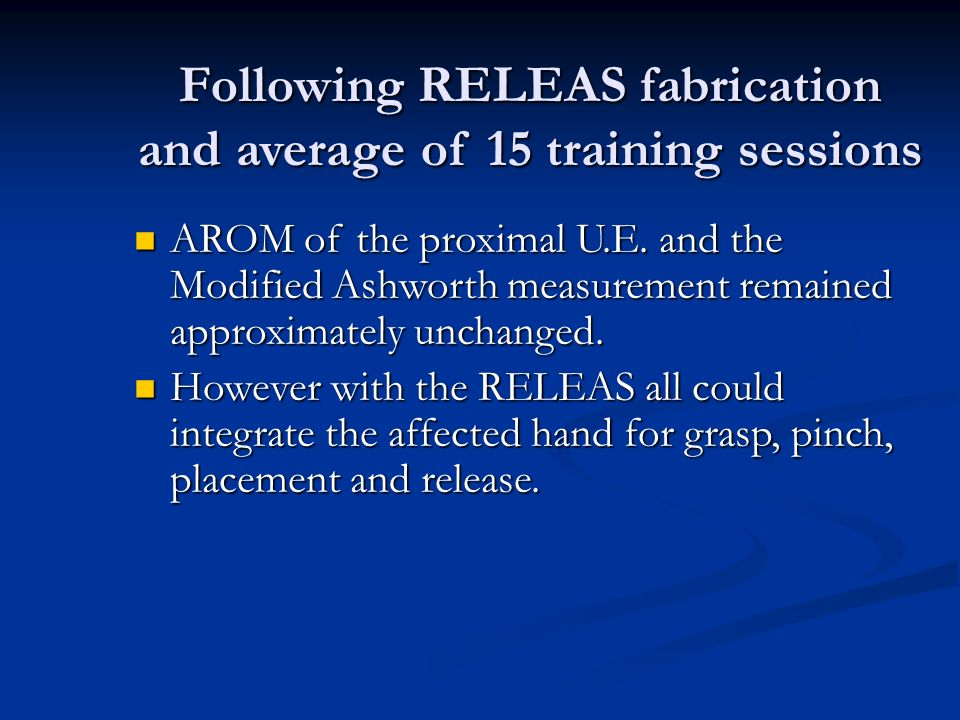 Following RELEAS fabrication and average of 15 training sessions