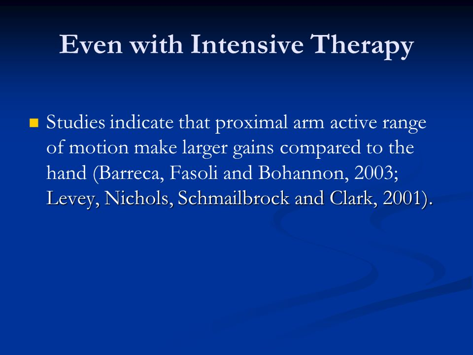 Even with Intensive Therapy