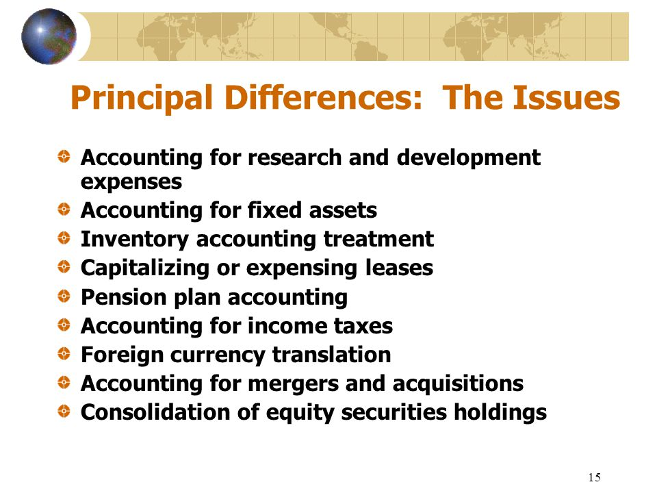 Principal Differences: The Issues