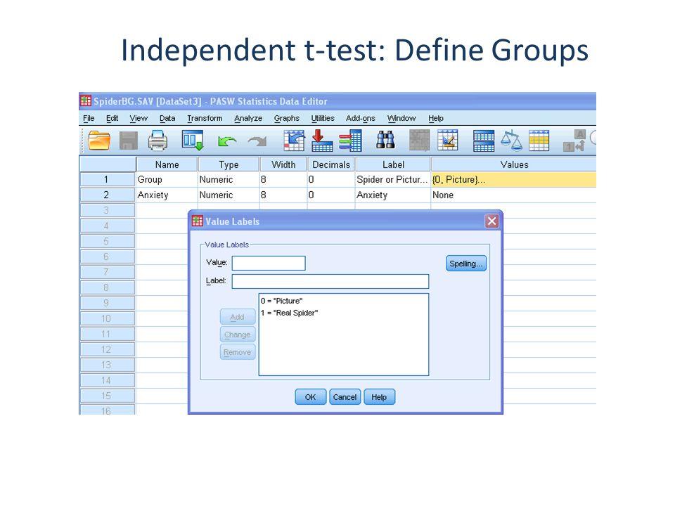 Independent t-test: Define Groups
