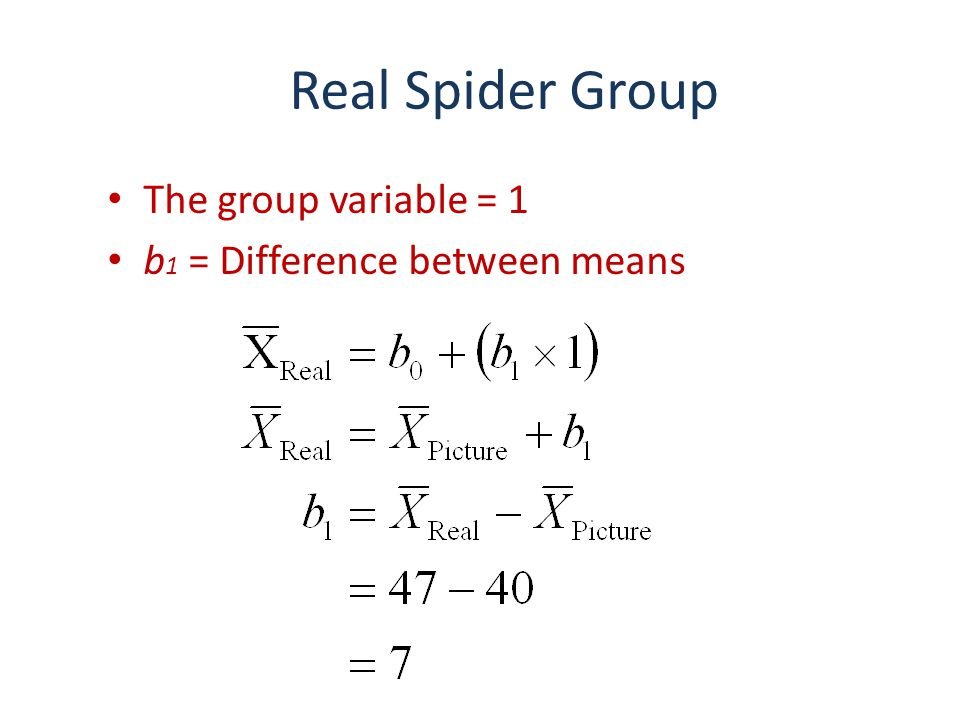 Real Spider Group The group variable = 1 b1 = Difference between means