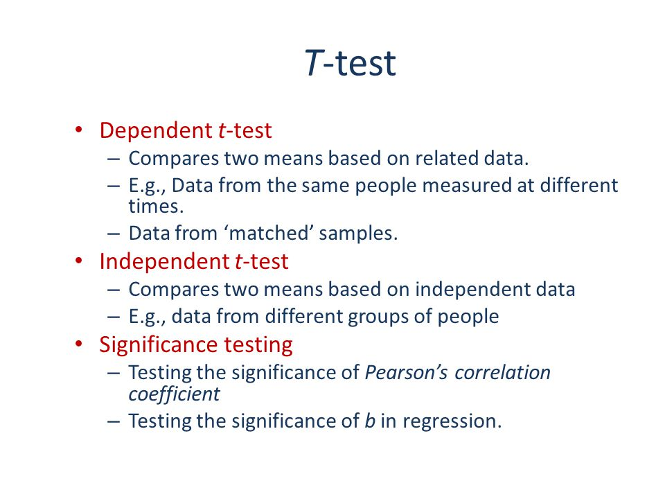 T-test Dependent t-test Independent t-test Significance testing