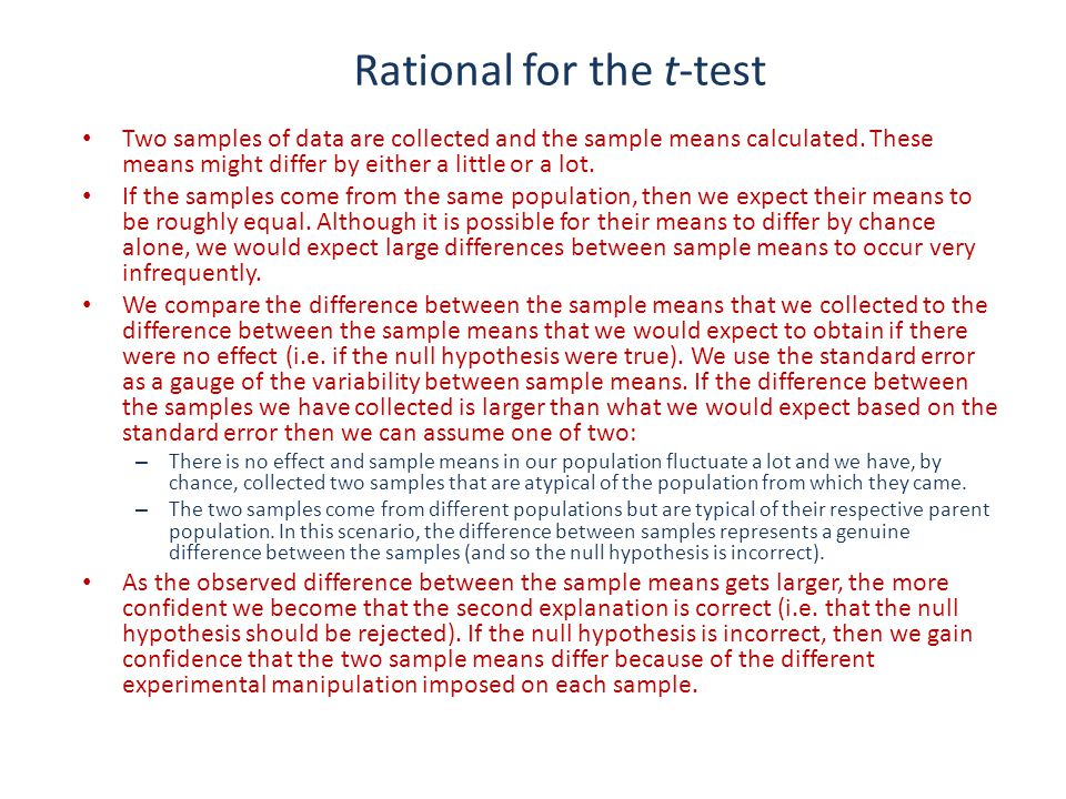 Rational for the t-test