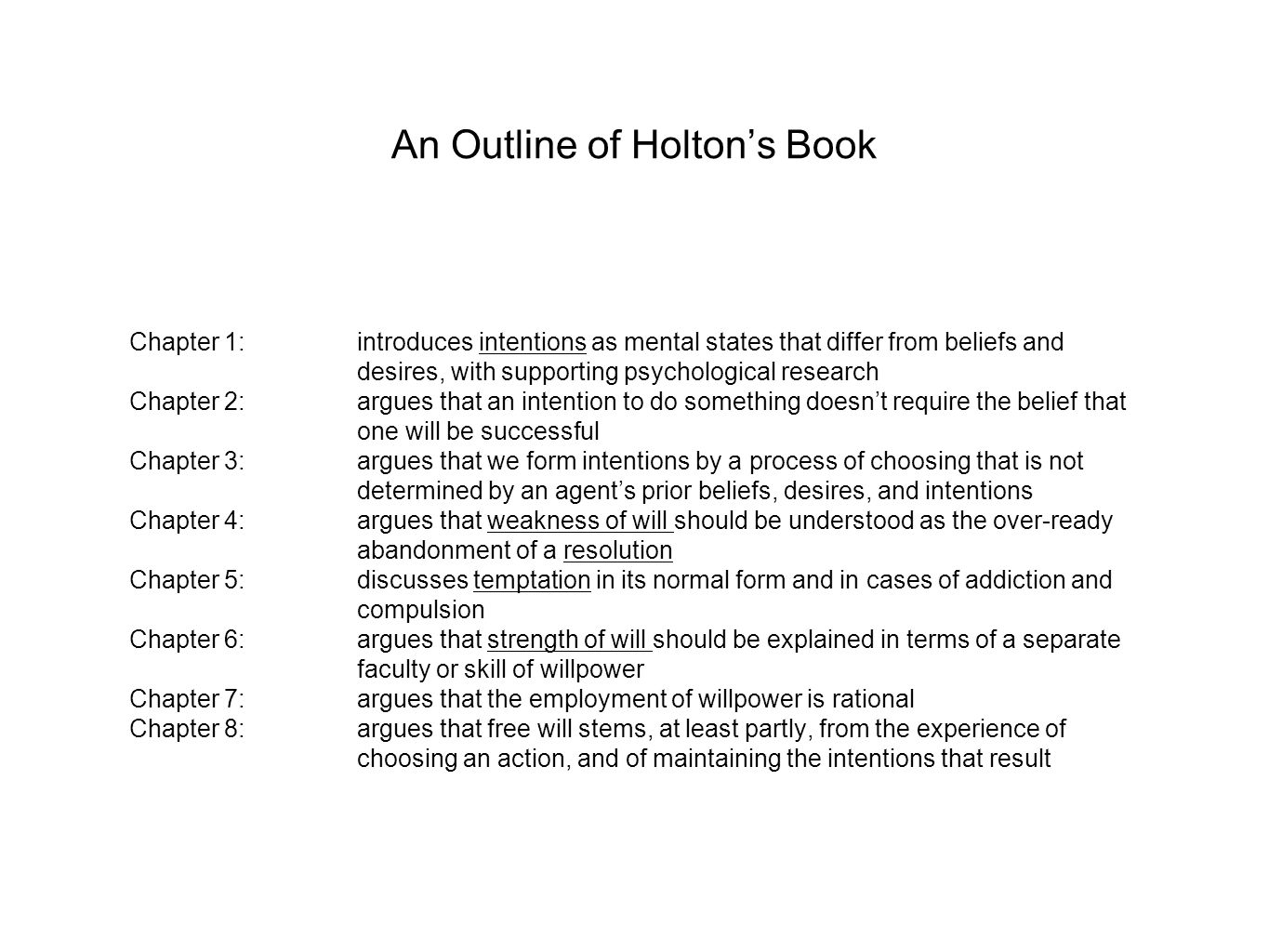 An Outline of Holton's Book