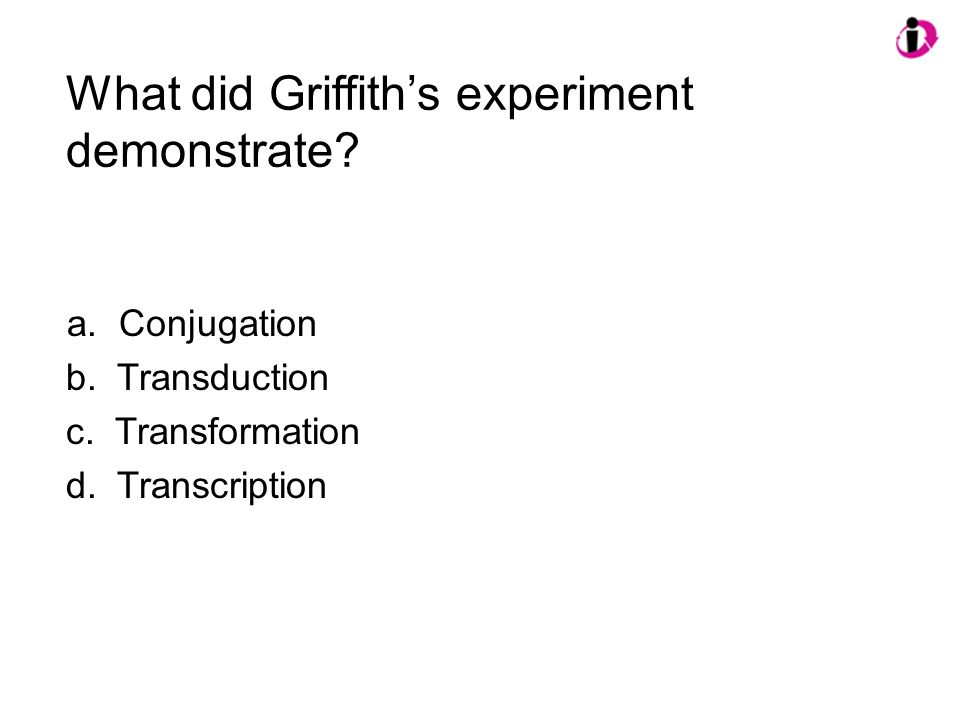 What did Griffith's experiment demonstrate