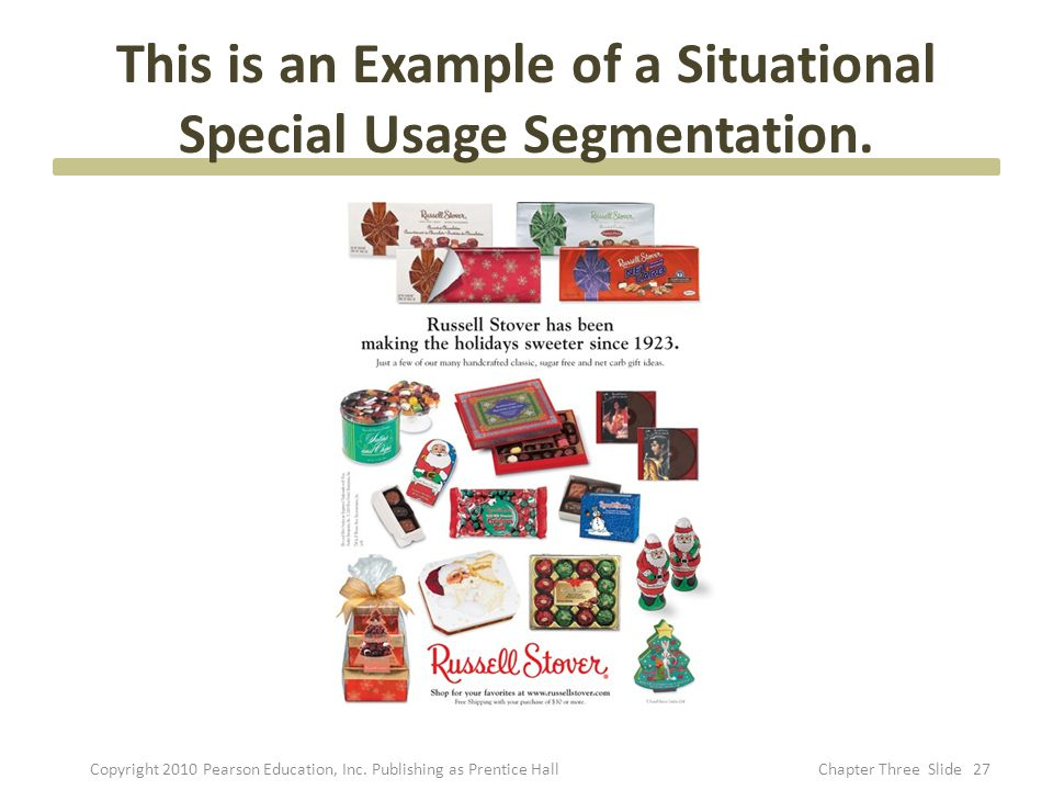 This is an Example of a Situational Special Usage Segmentation.