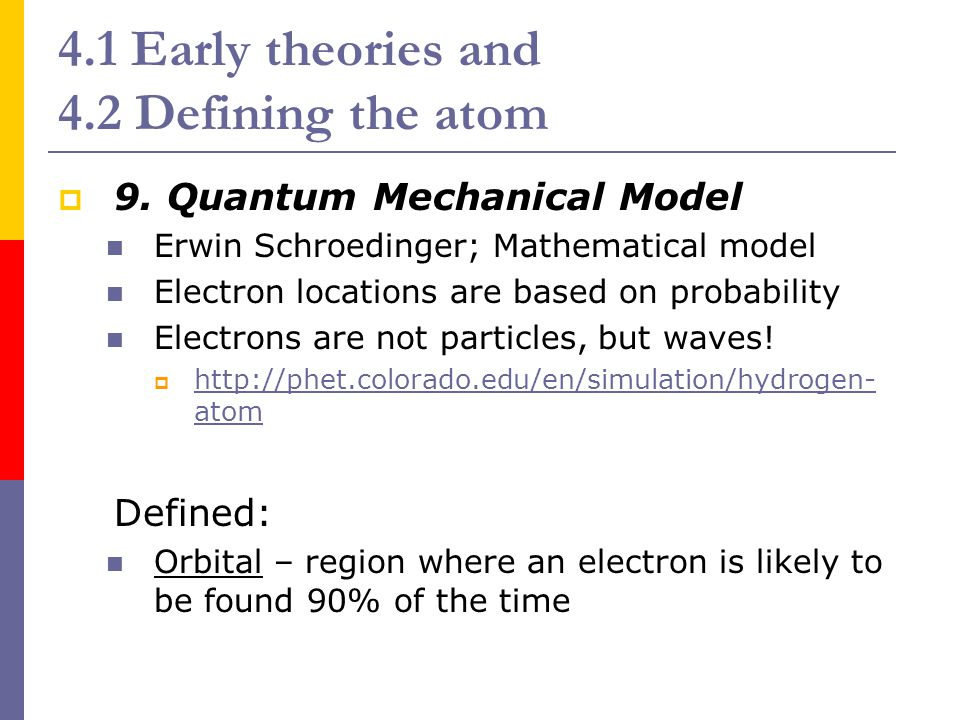 4.1 Early theories and 4.2 Defining the atom