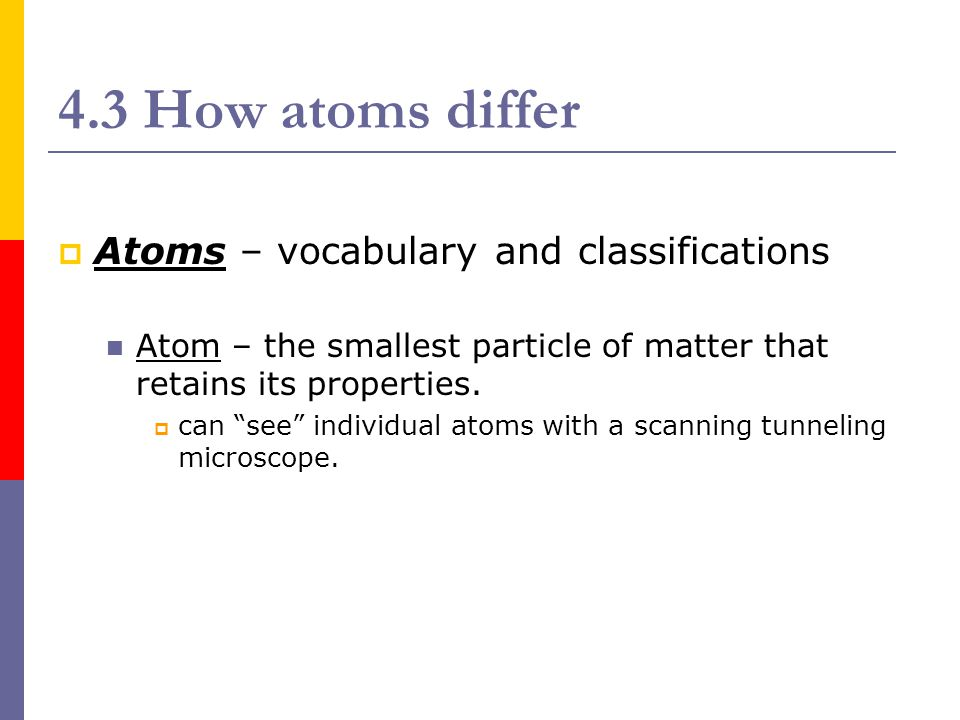 4.3 How atoms differ Atoms – vocabulary and classifications
