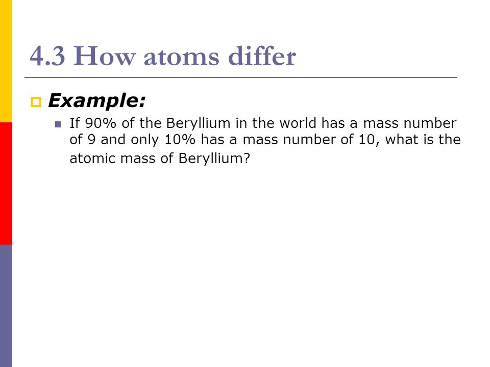 4.3 How atoms differ Example: