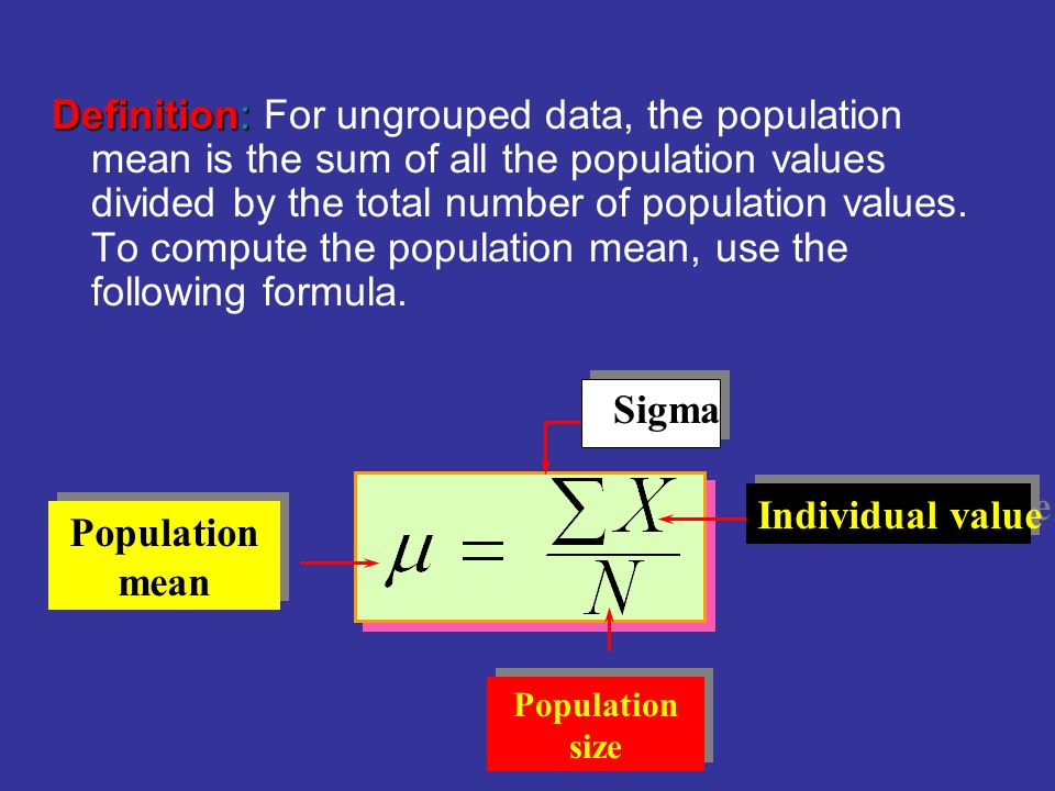 Definition: For ungrouped data, the population mean is the sum of all the population values divided by the total number of population values. To compute the population mean, use the following formula.