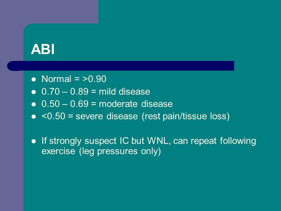 ABI Normal = >0.90 0.70 – 0.89 = mild disease