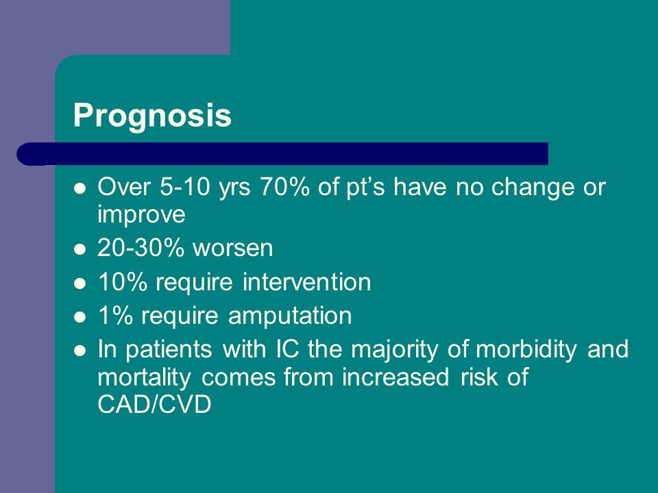 Prognosis Over 5-10 yrs 70% of pt's have no change or improve