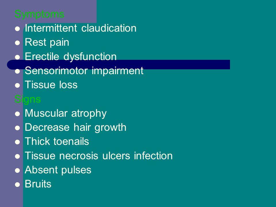 Symptoms Intermittent claudication. Rest pain. Erectile dysfunction. Sensorimotor impairment. Tissue loss.