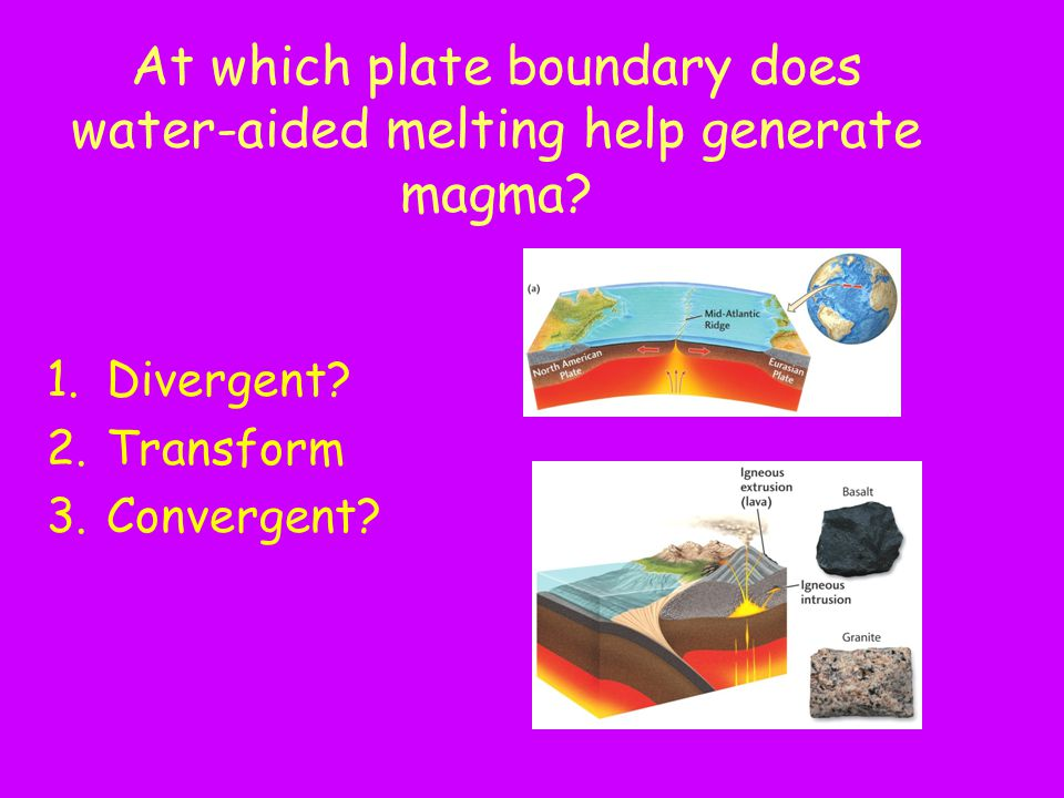At which plate boundary does water-aided melting help generate magma