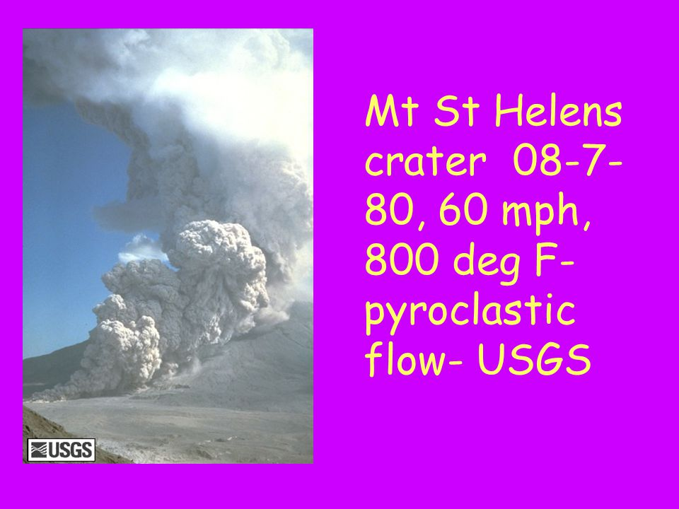 Mt St Helens crater 08-7-80, 60 mph, 800 deg F-pyroclastic flow- USGS