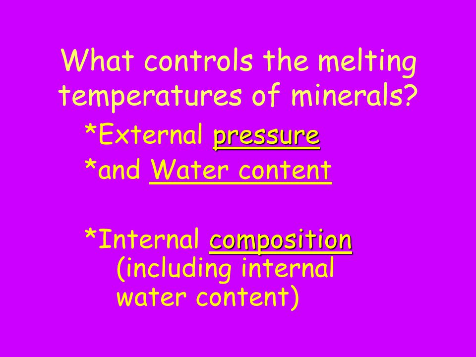 What controls the melting temperatures of minerals