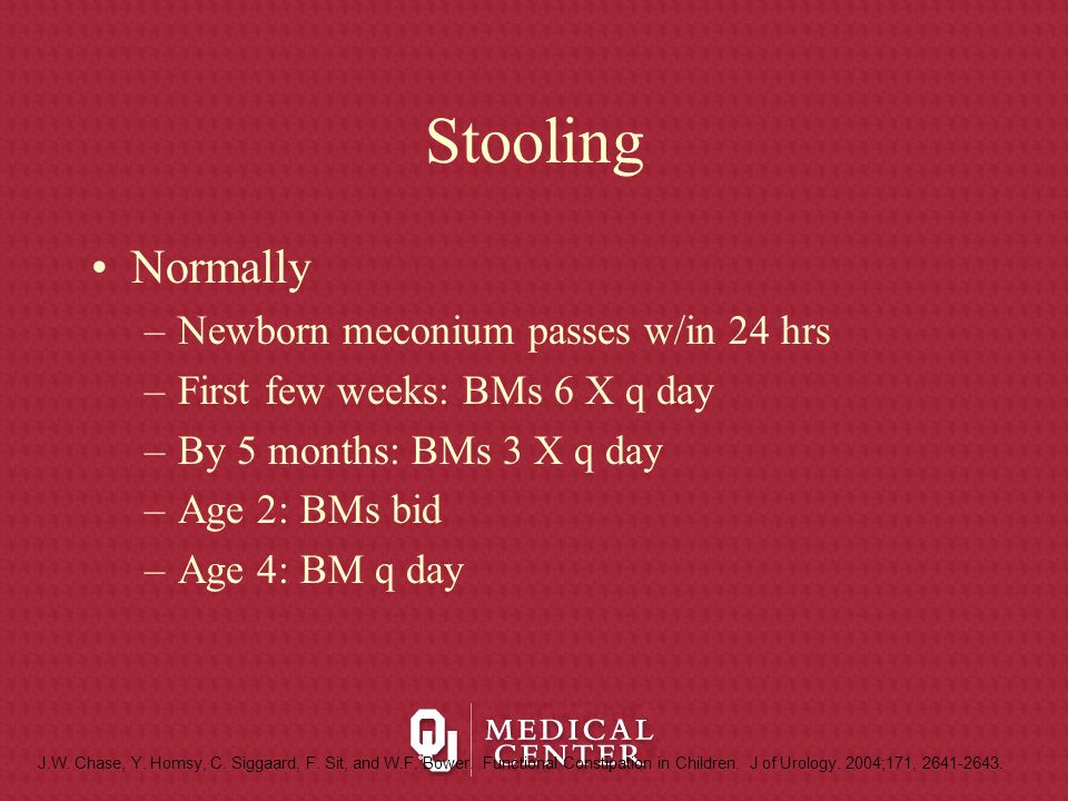 Stooling Normally Newborn meconium passes w/in 24 hrs