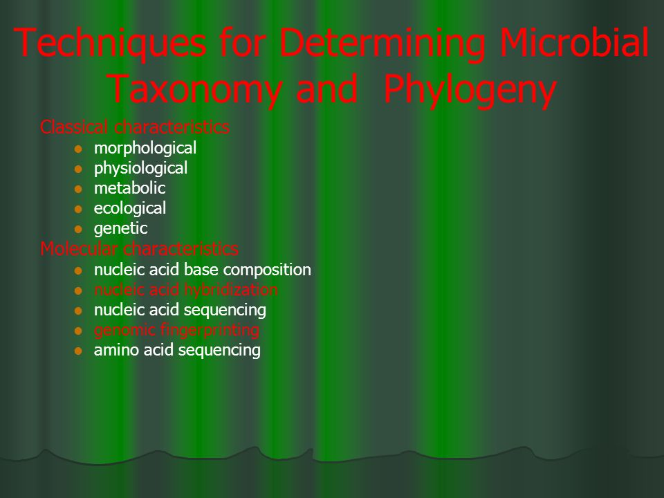 Techniques for Determining Microbial Taxonomy and Phylogeny