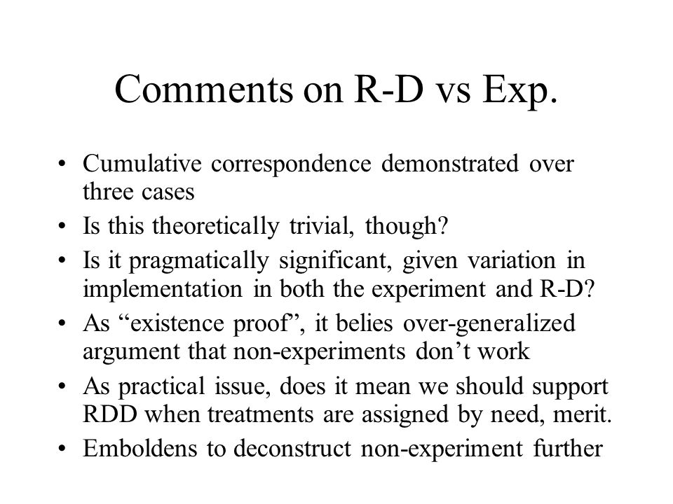 Comments on R-D vs Exp. Cumulative correspondence demonstrated over three cases. Is this theoretically trivial, though