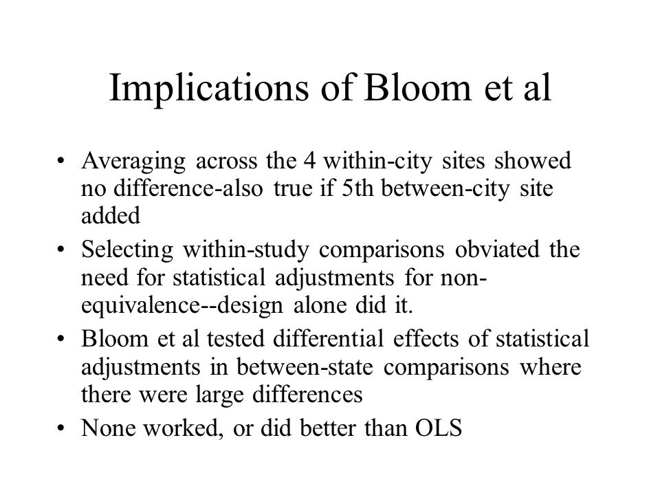 Implications of Bloom et al