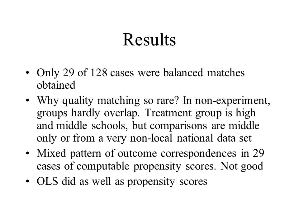 Results Only 29 of 128 cases were balanced matches obtained